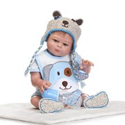 Full Silicone Body Reborn Baby Dolls Boy Look Real Light Blue Outfit 18 Inches