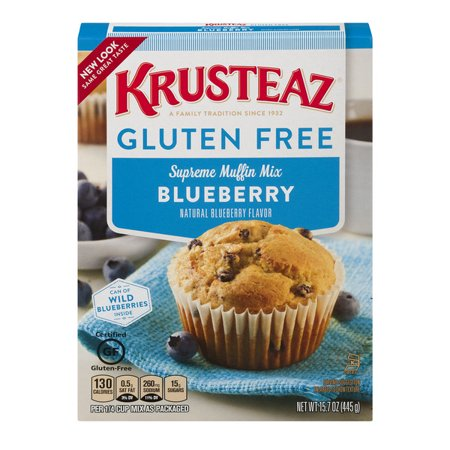 (2 Pack) Krusteaz Gluten Free Blueberry Muffin Mix, 15.7oz Box