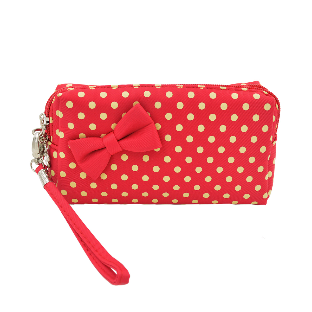Premium Small Polka Dot Bow Double Zip Wristlet Cosmetic Makeup Bag