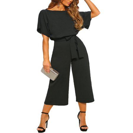 Women Short Sleeve Wide Leg Playsuit PantsTie Elastic Waist Casual  Trousers Office Daily Wear Cropped Trousers Jumpsuit Rompers