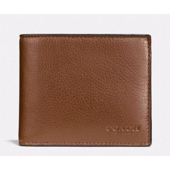 21308f4388 Coach F74991 Men's Compact ID Leather Wallet Dark Saddle