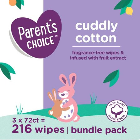 Parent's Choice Cotton Wipes, 3 Packs of 72 (216 Count)