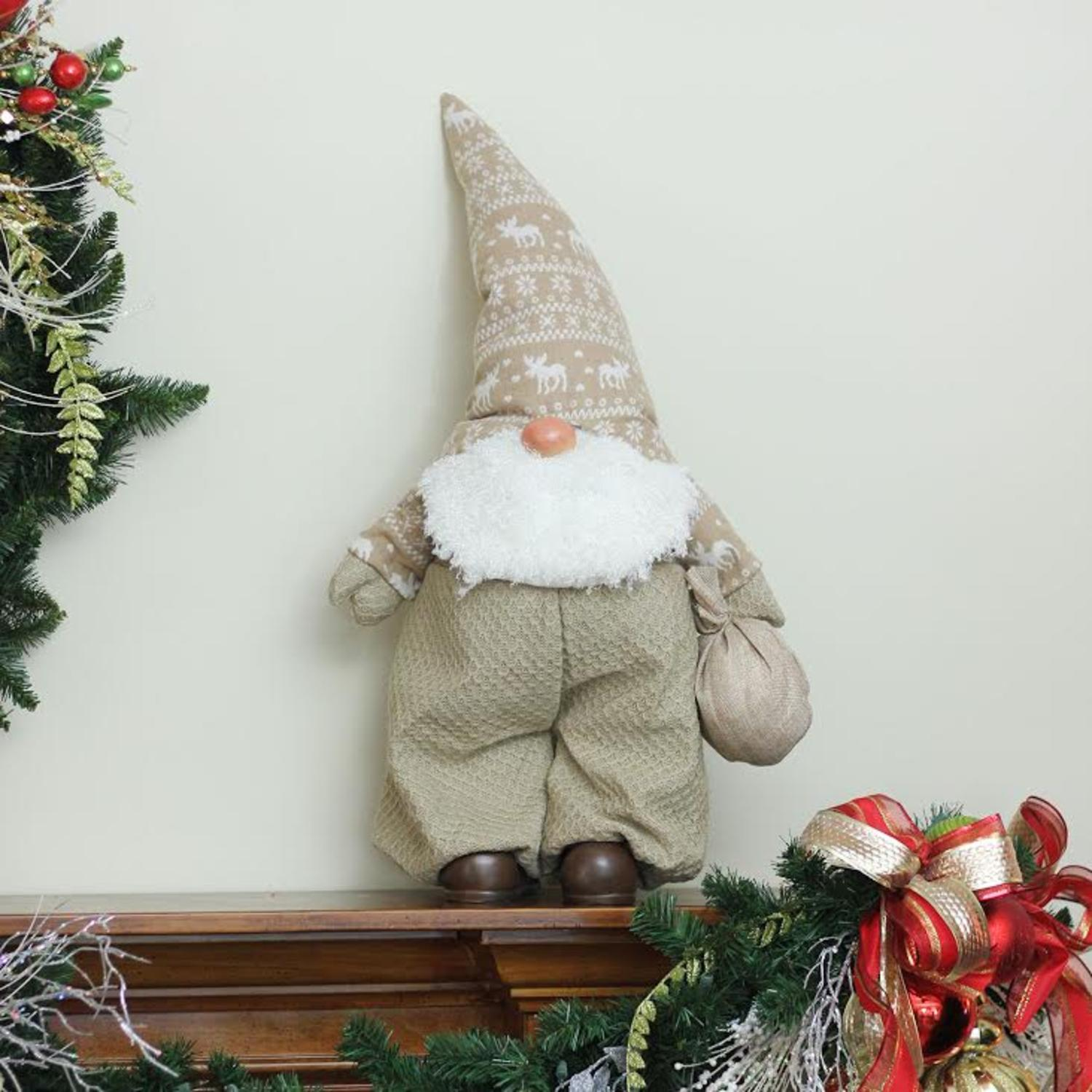 275 beige and white jolly james gnome christmas tabletop decoration