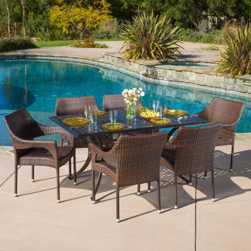 Santa Fe Rectangular Outdoor Cast And Wicker 7-Piece Set