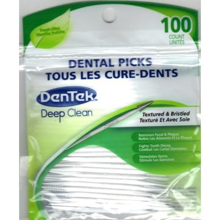 DenTek DENTAL PICKS Deep Clean Mint Toothpicks Plaque Removers 100 Picks Each - Long Toothpicks