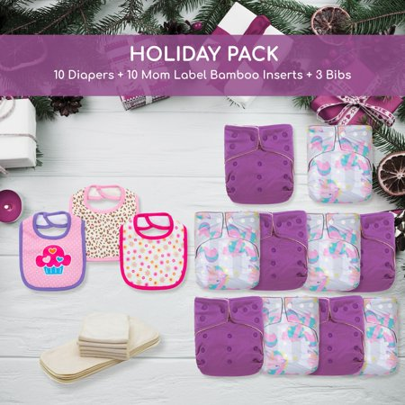 KaWaii Baby Holiday Gift Pack 10 One Size Cloth Diapers + 10 One Size Bamboo Inserts + 3 Bibs - Northern Lights - image 1 of 1