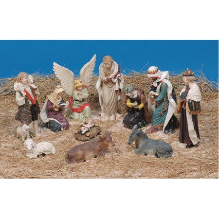 Lb international 11 piece nativity figures christmas for Outdoor christmas figures