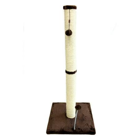 Cat Craft 36 inch Sisal Scratching Post (Dark Chocolate Fur 16x16 Base)