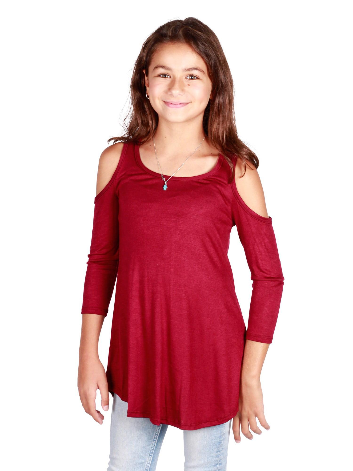 Lori /& Jane Big Girls Red Contrast Trim Edge Sleeveless Casual Crop Top 16