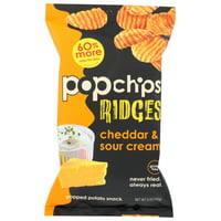 Popchips Potato Chip, Ridges, Cheddar, Sour Cream, 5 Oz, Pack Of 12