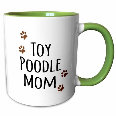 3dRose Toy Poodle Dog Mom - Doggie by breed - muddy brown paw prints - doggy lover - proud mama pet owner - Two Tone Green Mug,
