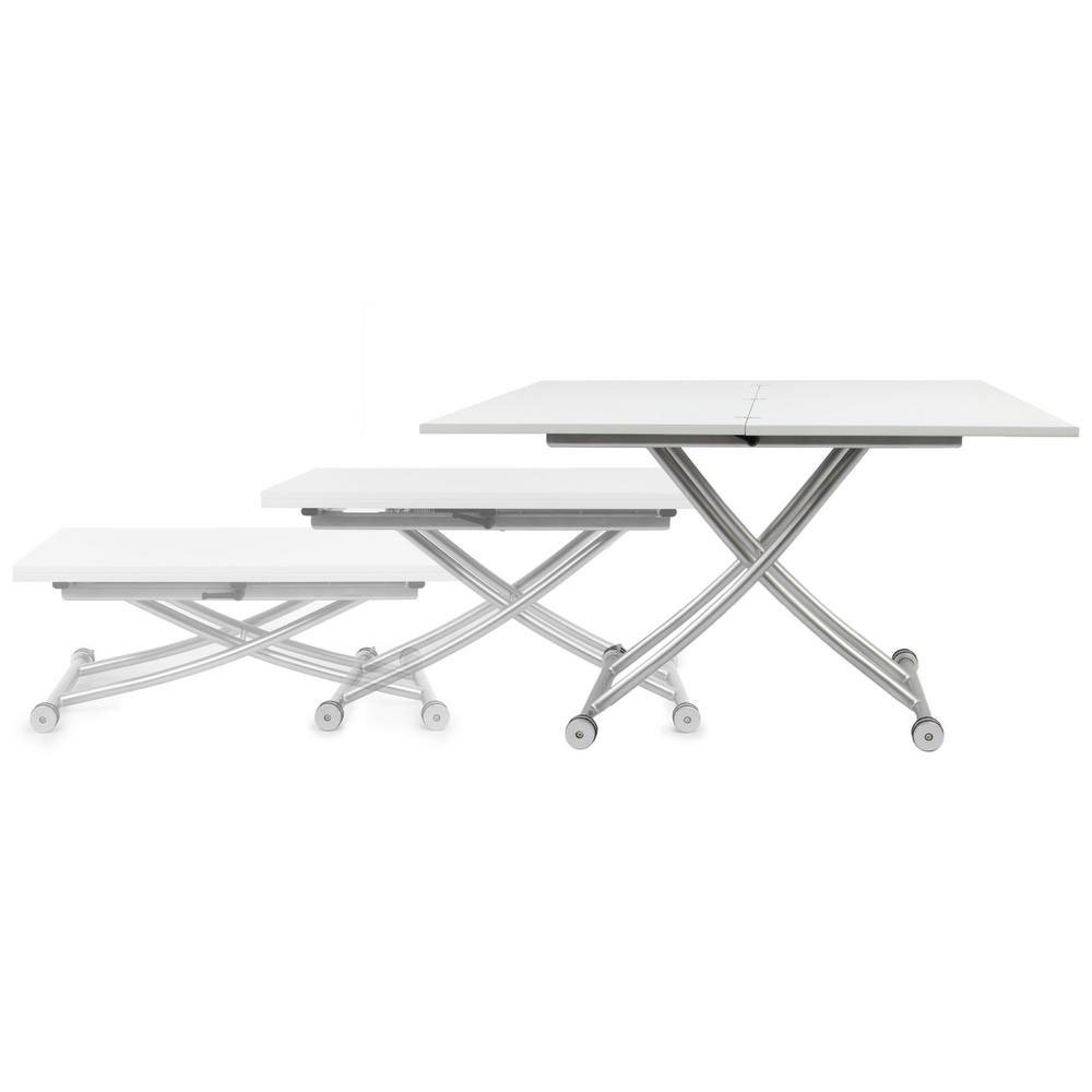 Transforming X Coffee And Dining Table In High Gloss White Finish Walmart Com