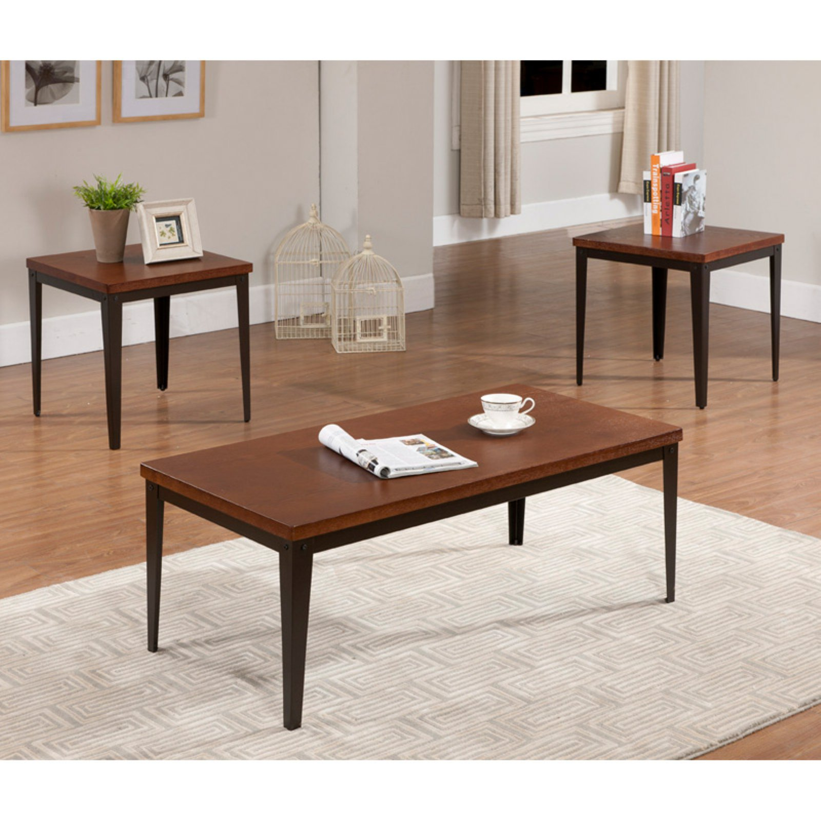 K & B Furniture T88 3 Piece Cocktail and End Table Set