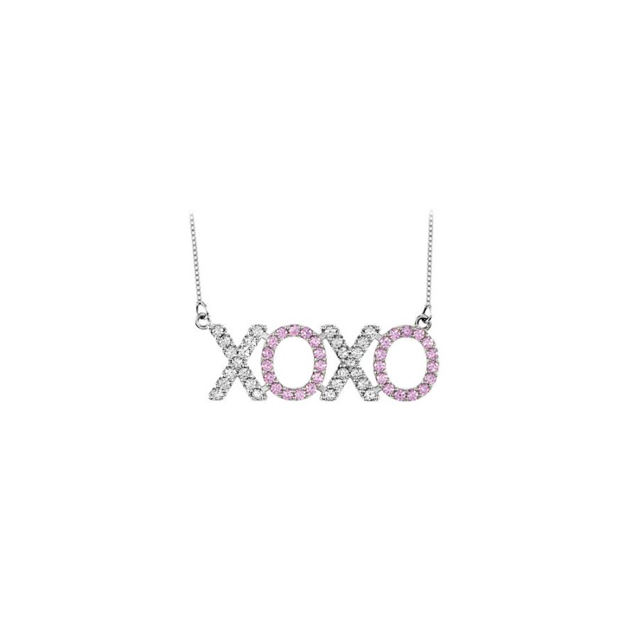 LoveBrightJewelry Diamond and Pink Sapphire XOXO Necklace in 14K White Gold 1 Carat Total Gem Weight by Love Bright