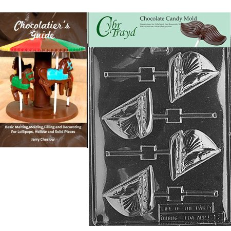 Cybrtrayd Sailboat Lolly Chocolate Candy Mold with Our Chocolatier's Guide Instructions (Fluted Boat Mold)