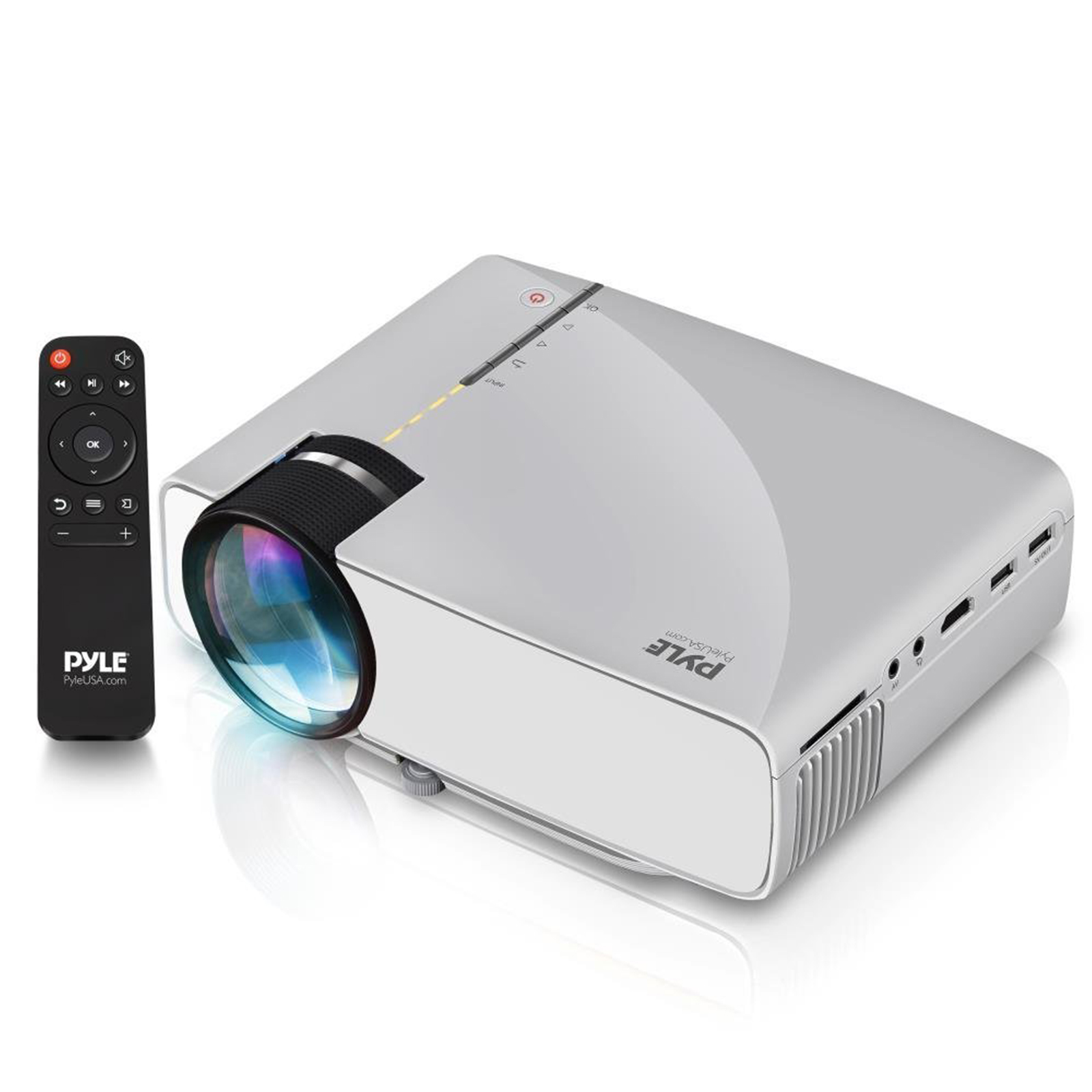 "Pyle Portable Multimedia Home Theater Projector - Compact HD 1080p High Lumen LED USB HDMI Adjustable 50"" to 130"" Inch Screen in your Mac or PC - Built in Stereo Speaker with Remote Control"