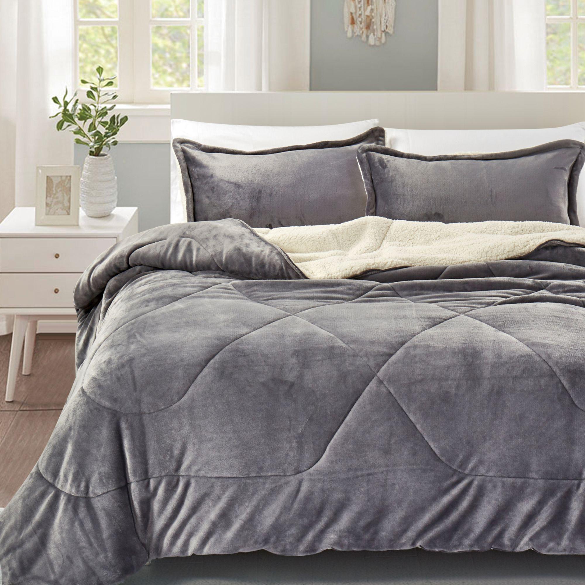 California Design Den Super Soft Cozy Reversible Sherpa Flannel Down Alternative Comforter Set Taupe, Full/Queen 3 Piece