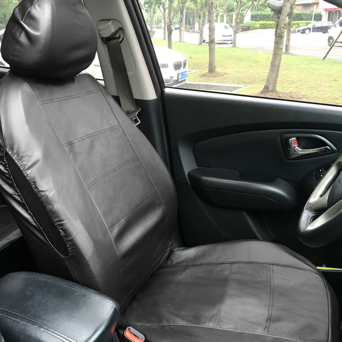 Universal PU Faux Leather Car Seat Cover Full Set 11 Pcs Interior Black