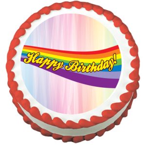 Rainbow Happy Birthday Edible Frosting Sheet Photo Image Cake Topper