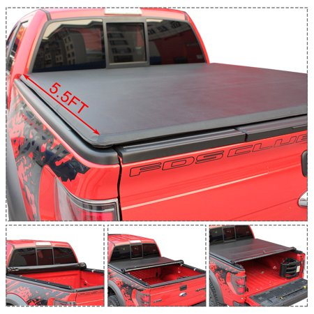 Gymax Roll Up Truck Bed Tonneau Cover For 2015-2018 Ford F-150 5.5ft Bed