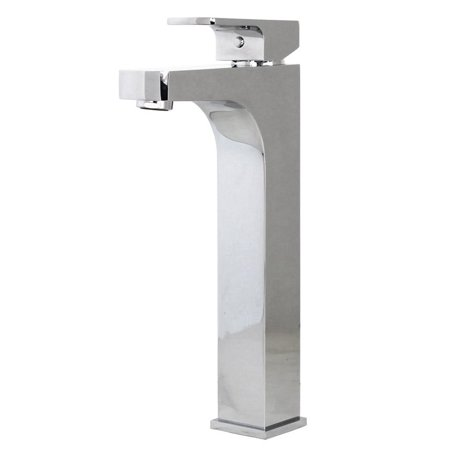 Contempo Living Inc Lewis Style Stainless Steel Square Design Polished Chrome Solid Brass Single Hole Lever Bathroom Vanity Lavatory Faucet