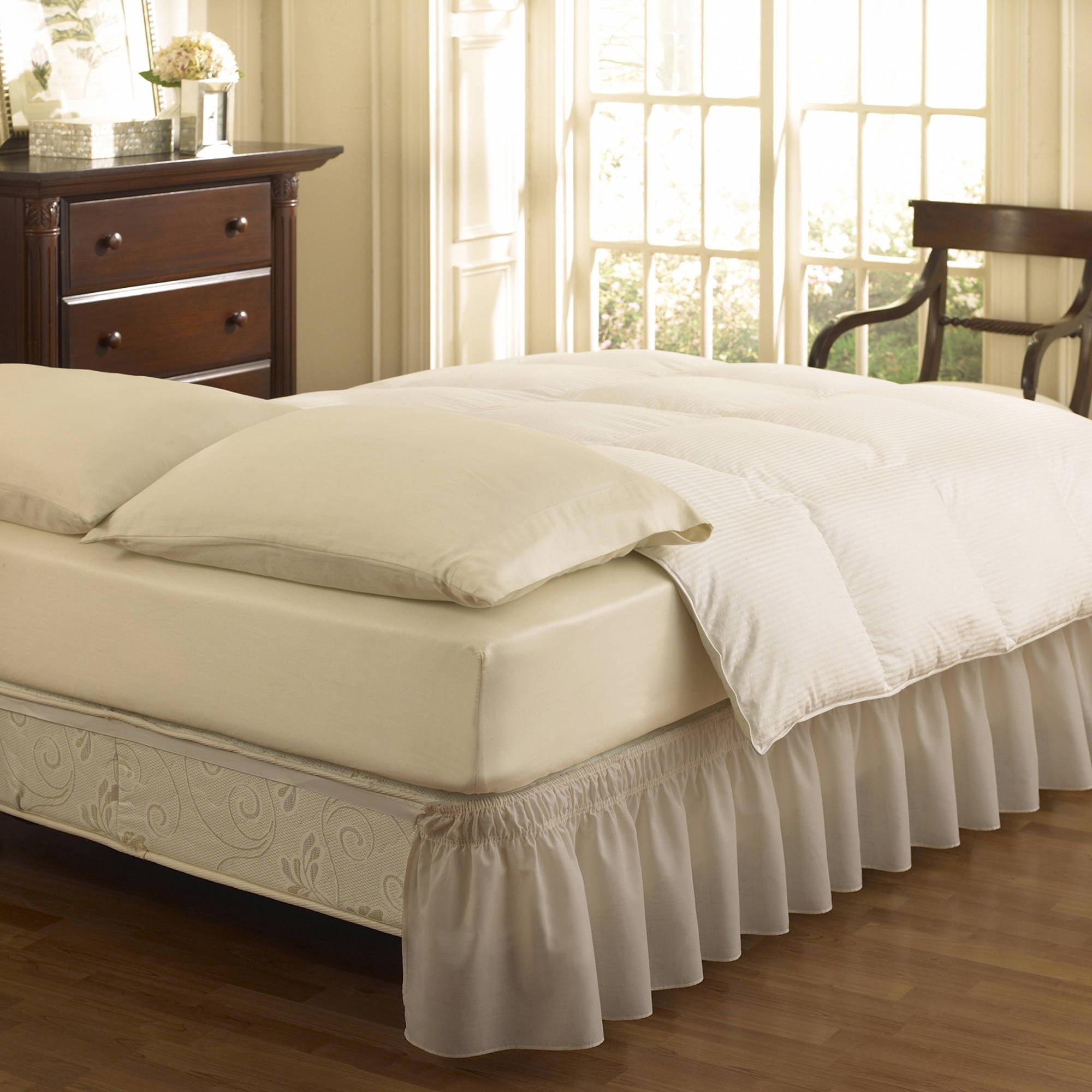 EasyFit Wrap Around Solid Ruffled Bed Skirt, Grey