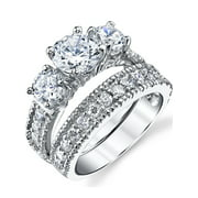 Sterling Silver Past Present Future Bridal Set Engagement Wedding Ring Band W Cubic Zirconia