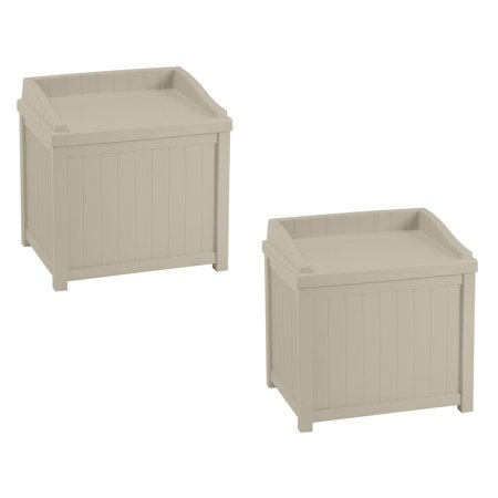 22 Storage - Suncast 22 Gallon Outdoor Storage Resin Patio Deck Box with Seat, Taupe (2 Pack)