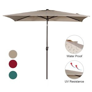 Abba Patio 6.6 by 9.8-Ft Rectangular Market Outdoor Table Patio Umbrella with Push Button Tilt and Crank, Beige