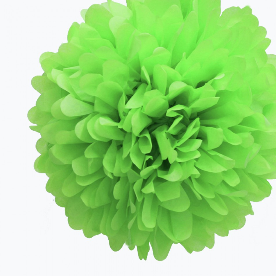 Quasimoon EZ-FLUFF 8'' Light Lime Tissue Paper Pom Pom Flowers, Hanging Decorations (4 Pack) by PaperLanternStore