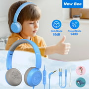 KH18 Kids Headphones Children's Headphones with Microphone for Learning for Boys and Girls Headset Children with Volume Limiter 85 dB for Laptop iPad Macbook (Blue)