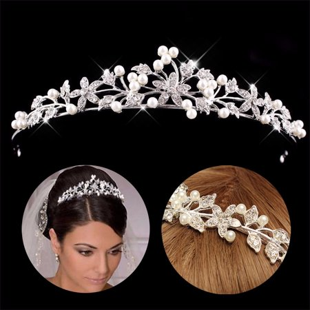 Princess Wedding Bridal Prom Party Pearl Crystal Flower Hair Band Headband - Silver Flapper Headband