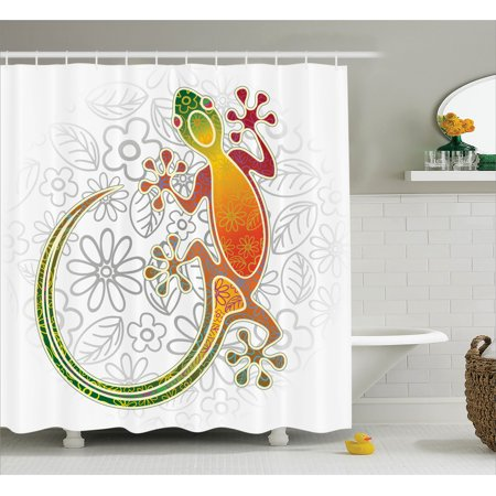 - Batik Shower Curtain, Native Southeast Asian Common House Gecko Moon Lizard Tropical Monster Graphic Design, Fabric Bathroom Set with Hooks, Multicolor, by Ambesonne