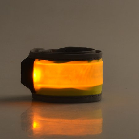 Outdoor Night Running Accessories LED Reflective Slap Bands Glow Bracelet Yellow