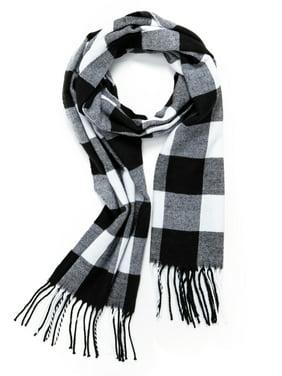 Unisex Plaid Knit Scarfs, Cashmere Feel Ultra Soft Classic Scarf For Men Women Winter Plaid Scarf
