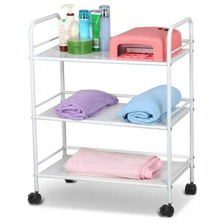 Rolling Trolley Cart 3 Shelves Hair Beauty Salon Spa Storage Equipment -