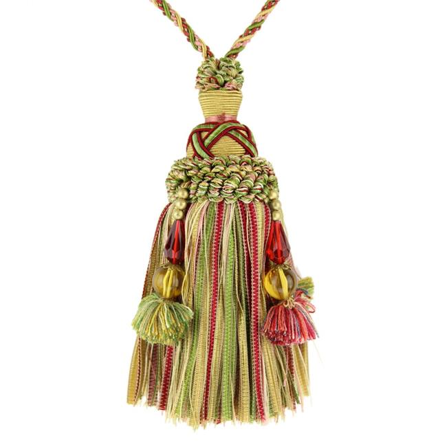 Trimland 3742-00-9543 6.12 in. Key Tassel with Bead, Pink, Green & Gold - image 1 de 1