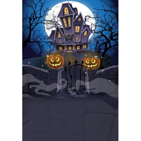 HelloDecor Polyster 5x7ft Happy Halloween Cozy Haunted House Behind Stone Wall Photography Backdrops Indoor Studio Backgrounds Photo Props