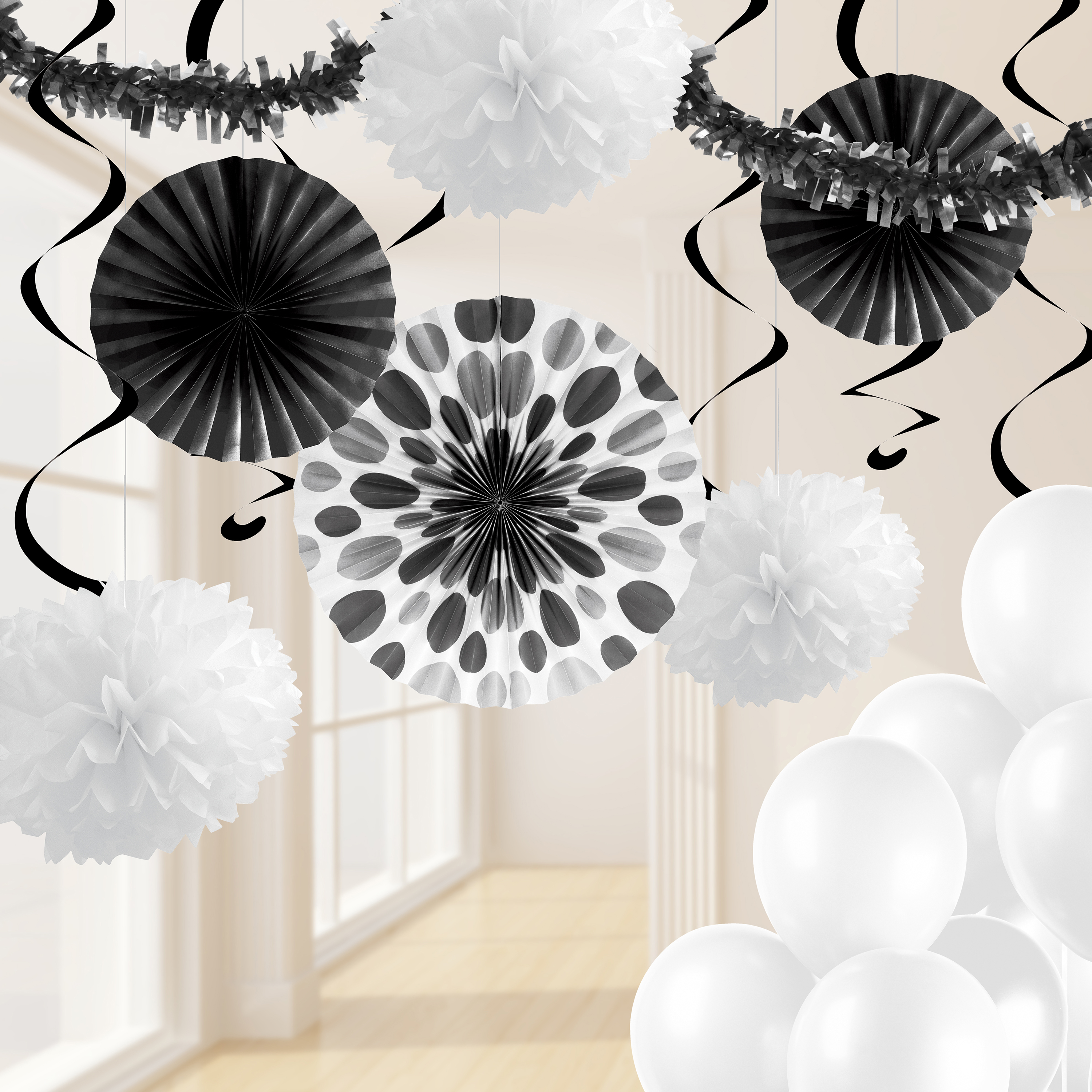 Black and White Party Decorations Kit Walmart