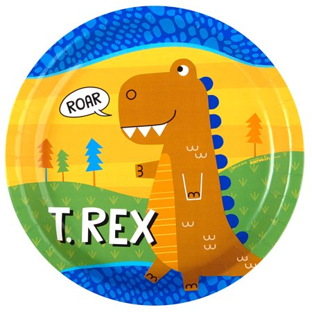 T-Rex Dinosaur Party Supplies 32 Pack Lunch Plates (Dinosaur Birthday Party Supplies)