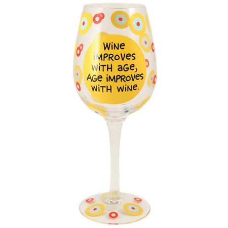 Wine Glass - Wine Improves with Age, 9 Glass wine goblet By Our Name is Mud From USA