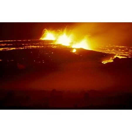 Hawaii Big Island Hawaii Volcanoes National Park Puu Oo Vent Eruption At Night Three Fountains Lava Flow A28A Canvas Art - Peter French  Design Pics (19 x - Lava Flow Recipe