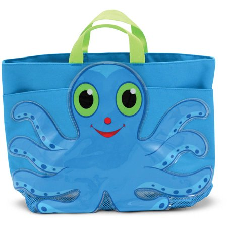Melissa & Doug Sunny Patch Flex Octopus Large Beach Tote Bag with Mesh - Mesh Tote Bag