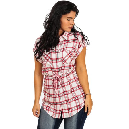 Womens juniors red striped cap sleeve button down tunic for Womens patterned button down shirts