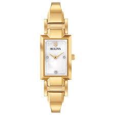 Bulova Women's Gold-Tone Diamond Accent Half-Bangle Watch