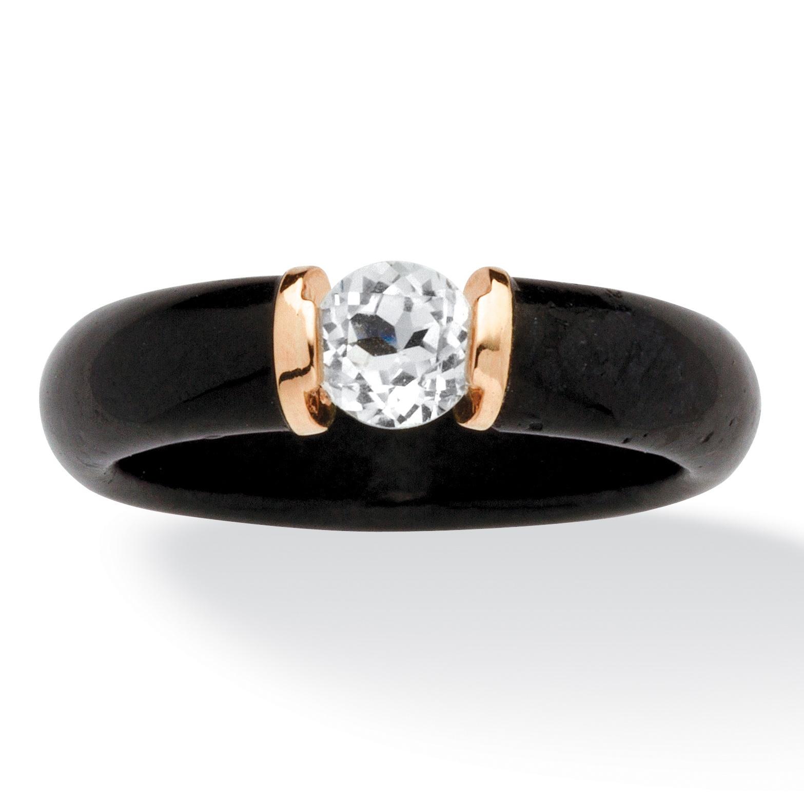 .56 TCW Black Jade and White Topaz Ring in 10k Gold