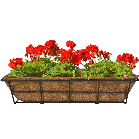 DPBCB24-B 24-Inch Canterbury Adjustable Deck Railing Planter, Black, Can be used to display plants and flowers on deck railings By CobraCo