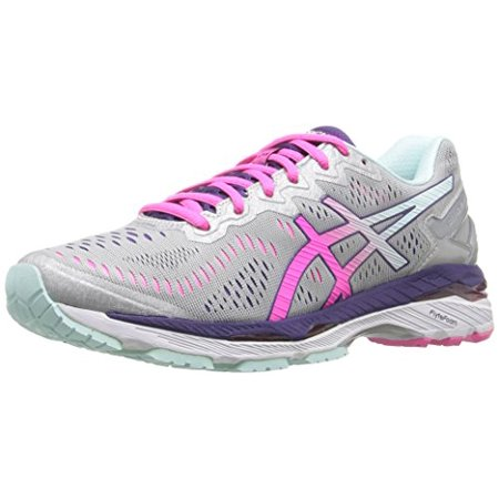 ASICS Women's Gel-Kayano 23 Running Shoe, Silver/Pink Glow/Parachute Purple, 7 D