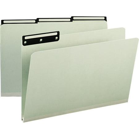 Smead, SMD18430, 1/3 Cut Metal Tab Pressboard File Folders, 25 / Box, Gray,Green Cut Pressboard Metal Tab File
