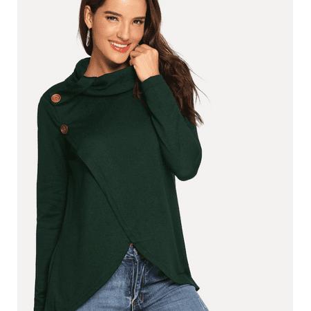 Women's Button Sweater Solid Warm Casual Tops Knit Turtleneck Fashion Long Sleeve Outwear Shirt Button Cuff Turtleneck Sweater